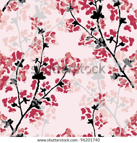 elegant seamless pattern with beautiful floral branch for your design - stock vector