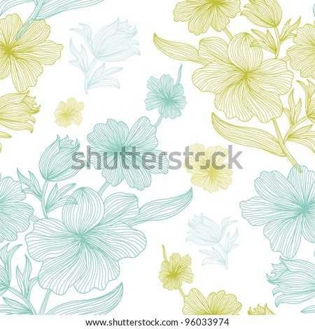 elegant seamless pattern with beautiful flowers, in white, blue and green colors - stock vector