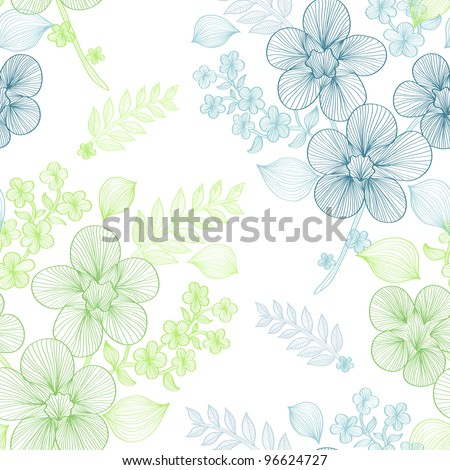 elegant seamless pattern with beautiful green and blue flowers for your design - stock vector