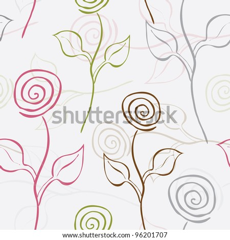 elegant seamless pattern with beautiful roses for your design - stock vector