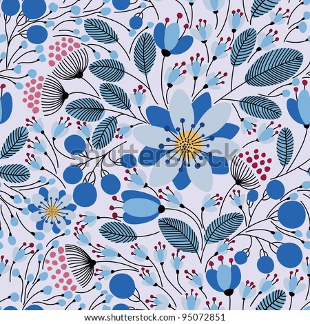 Elegant seamless pattern with blue flowers, vector illustration - stock vector