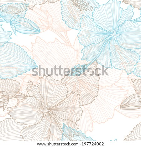 Elegant seamless pattern with decorative pastel hibiscus flowers, design element. Beautiful floral background. Floral pattern for wedding invitations, greeting cards, scrapbooking, print. - stock vector