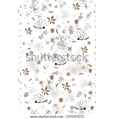 elegant seamless pattern with floral vertical border - stock vector
