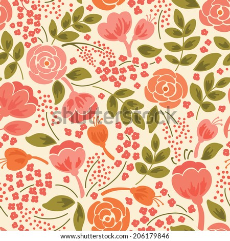 Elegant seamless pattern with flowers. It can be used for desktop wallpaper or frame for a wall hanging or poster,for pattern fills, surface textures, web page backgrounds, textile and more. - stock vector