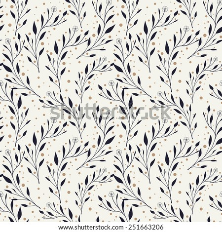 elegant seamless pattern with foliage elements over white background - stock vector