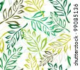 elegant seamless pattern with green leaves for your design - stock vector