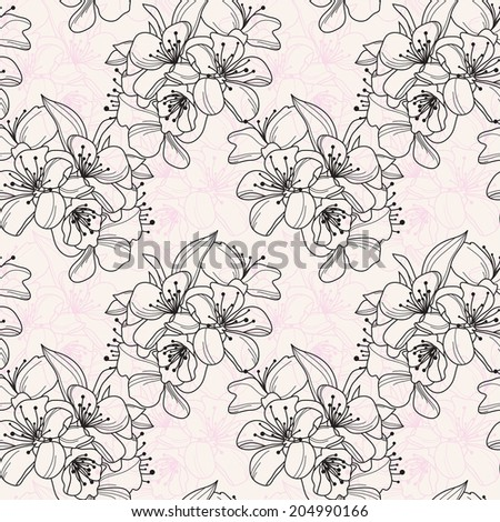 Elegant seamless pattern with hand drawn decorative cherry blossom, design elements. Floral pattern for wedding invitations, greeting cards, scrapbooking, print, gift wrap, manufacturing. - stock vector