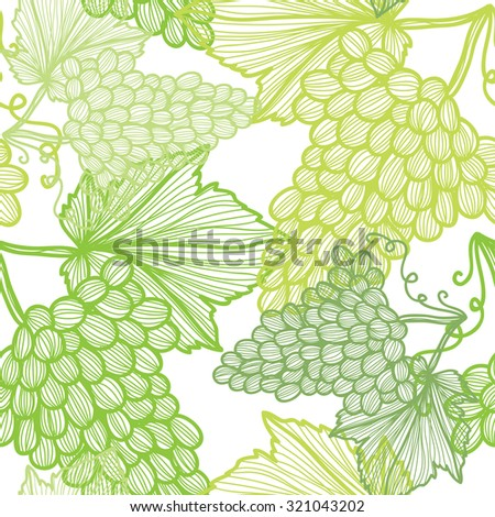 Elegant seamless pattern with hand drawn decorative grapes, design elements. Can be used for invitations, greeting cards, scrapbooking, print, gift wrap, manufacturing. Food background - stock vector