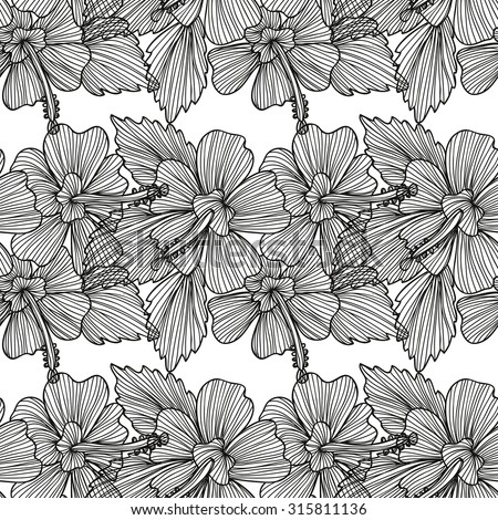 Elegant seamless pattern with hand drawn decorative hibiscus flowers, design elements. Floral pattern for wedding invitations, greeting cards, scrapbooking, print, gift wrap, manufacturing.