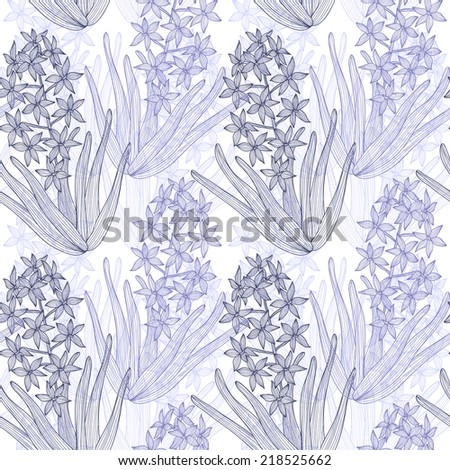 Elegant seamless pattern with hand drawn decorative hyacinth flowers, design elements. Floral pattern for wedding invitations, greeting cards, scrapbooking, print, gift wrap, manufacturing. - stock vector