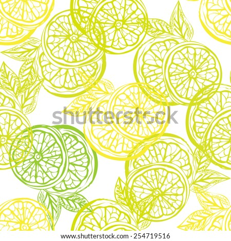 Elegant seamless pattern with hand drawn decorative lemon fruits, design elements. Can be used for invitations, greeting cards, scrapbooking, print, gift wrap, manufacturing. Food background - stock vector