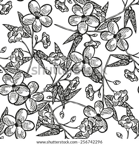 Elegant seamless pattern with hand drawn decorative peach flowers, design elements. Floral pattern for wedding invitations, greeting cards, scrapbooking, print, gift wrap, manufacturing. - stock vector