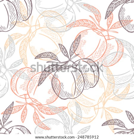 Elegant seamless pattern with hand drawn decorative peach fruits, design elements. Can be used for invitations, greeting cards, scrapbooking, print, gift wrap, manufacturing. Food background - stock vector