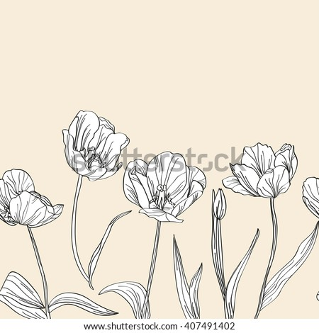 Elegant seamless pattern with hand drawn decorative tulip flowers, design elements. Floral pattern for invitations, cards, scrapbooking, print, gift wrap, fabric