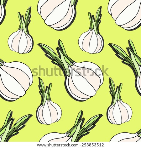 Elegant seamless pattern with hand drawn garlic, design elements. Can be used for textile, scrapbook, print, gift wrap, manufacturing. Food background - stock vector