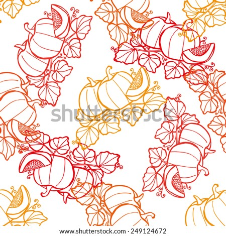 Elegant seamless pattern with hand drawn pumpkins, design elements. Can be used for invitations, greeting cards, scrapbooking, print, gift wrap, manufacturing. Food background - stock vector