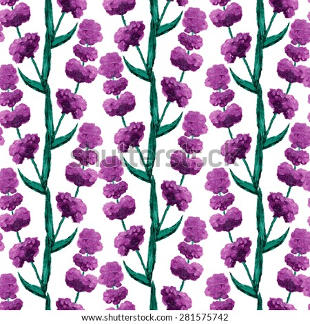 Elegant seamless pattern with oil painted lavender flowers, design elements. Floral pattern for wedding invitations, greeting cards, scrapbooking, print, gift wrap, manufacturing - stock vector
