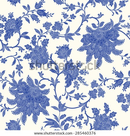 Elegant Seamless pattern with ornament, floral illustration in vintage style - stock vector