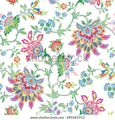 Elegant Seamless pattern with ornament, vector floral illustration in vintage style - stock vector