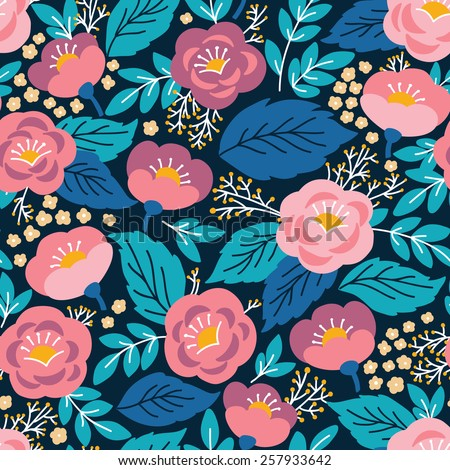 Elegant seamless pattern with pink flowers. It can be used for desktop wallpaper or frame for a wall hanging or poster,for pattern fills, surface textures, web page backgrounds, textile and more. - stock vector