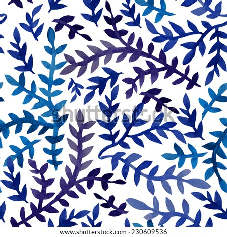 Elegant seamless pattern with watercolor painted blue leaves, design elements. Floral pattern for wedding invitations, greeting cards, scrapbooking, print, gift wrap, manufacturing - stock vector