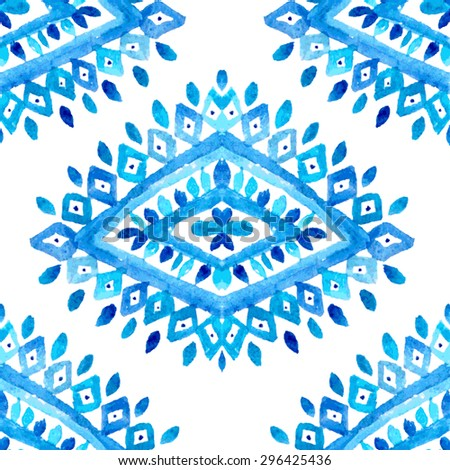 Elegant seamless pattern with watercolor painted blue ornament, design element. Can be used for wedding invitations, greeting cards, scrapbooking, print, gift wrap, manufacturing - stock vector