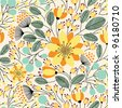Elegant seamless pattern with yellow flowers, vector illustration - stock photo