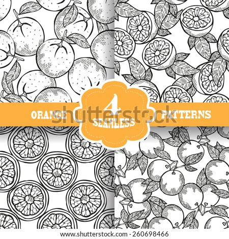 Elegant seamless patterns set with hand drawn decorative orange fruits, design elements. Can be used for invitations, greeting cards, scrapbooking, print, gift wrap, manufacturing. Food background - stock vector