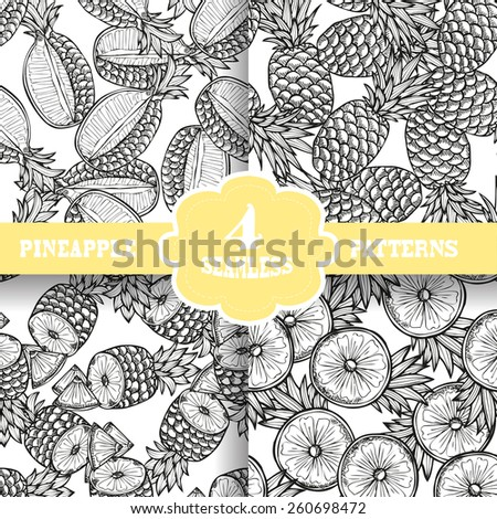 Elegant seamless patterns set with hand drawn decorative pineapples, design elements. Can be used for invitations, greeting cards, scrapbooking, print, gift wrap, manufacturing. Food background - stock vector