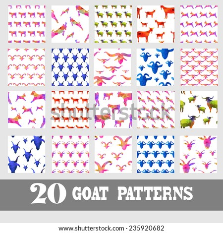 Elegant seamless patterns with decorative goats, design elements. Geometric triangles pattern for invitations, greeting cards, scrapbooking, print, gift wrap, manufacturing. New Year 2015 theme. - stock vector