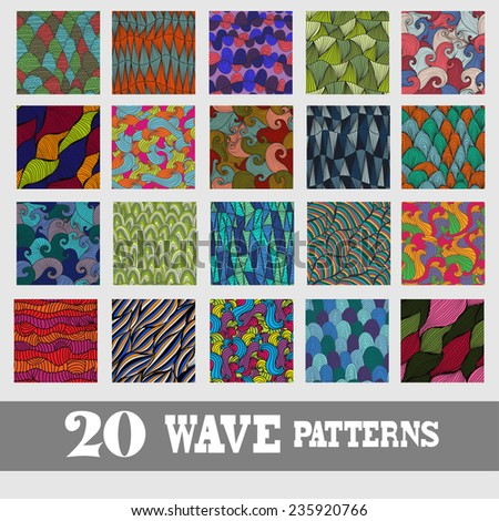 Elegant seamless patterns with decorative waves, design elements. Wave patterns for invitations, greeting cards, scrapbooking, print, gift wrap, manufacturing. Summer, vacation, travel theme - stock vector