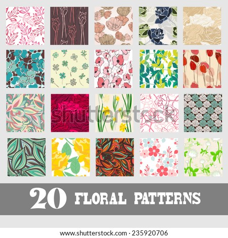 Elegant seamless patterns with hand drawn decorative flowers, design elements. Floral pattern for wedding invitations, greeting cards, scrapbooking, print, gift wrap, manufacturing. - stock vector