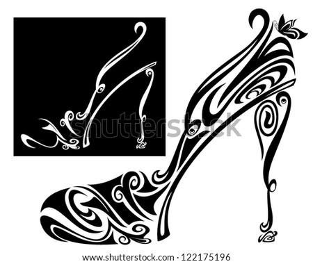 elegant shoe and sandal stylized illustration - black and white vector outline - stock vector