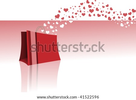 Elegant shopping bag with hearts flowing - no meshes, no masks - layered, easy to customize - stock vector