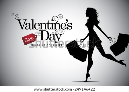 Elegant shopping girl Valentines Day advertising template EPS 10 vector royalty free stock illustration - stock vector