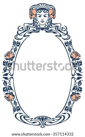 Elegant silhouette frame with girl's face - stock vector