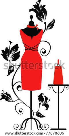 Elegant silhouette tailors dummy with a bag. Delicate flowers for background. Beautiful silhouette for stylish and luxurious designs for vintage style. Isabelle series - stock vector