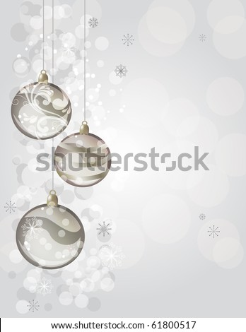 Elegant silver christmas background with balls - stock vector