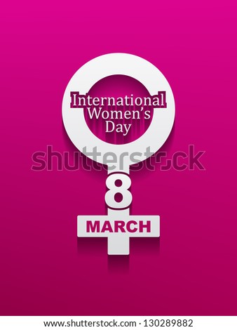 Elegant silver color design element for women's day on pink color background with shadow. vector illustration - stock vector
