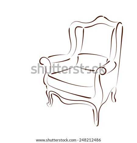 Elegant sketched armchair. Design template for label, banner, badge, logo. Vector. - stock vector