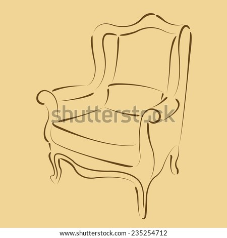 Elegant sketched armchair. Harmonic colors. Background can be easily removed. Design template for label, banner, badge, logo. Vector. - stock vector