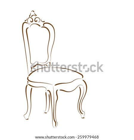 Elegant Sketched Chair Design Template Label Stock Vector 259979468