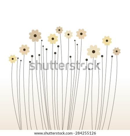 elegant small flowers card - stock vector
