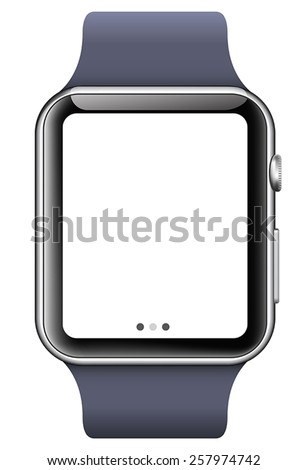 Elegant smart watch with blank screen isolated on white background - stock vector