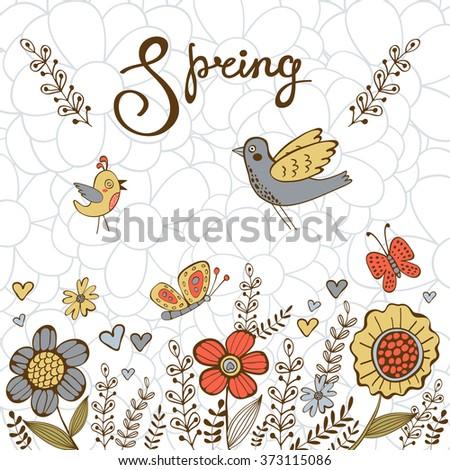 Elegant spring post card - stock vector