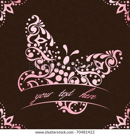 Elegant square easter frame in pink and brown (eps10); jpg version also available - stock vector