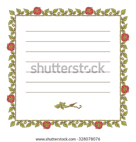 Elegant square vintage frame with roses and leaves elements. Vector decorative border
