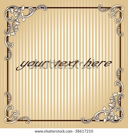 Elegant square vintage sepia frame (vector); a JPG version is also available - stock vector