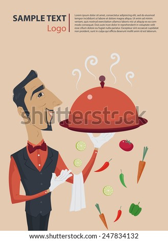 Elegant steward or waiter holding a tray with metal cloche lid cover, Vector Illustration. - stock vector