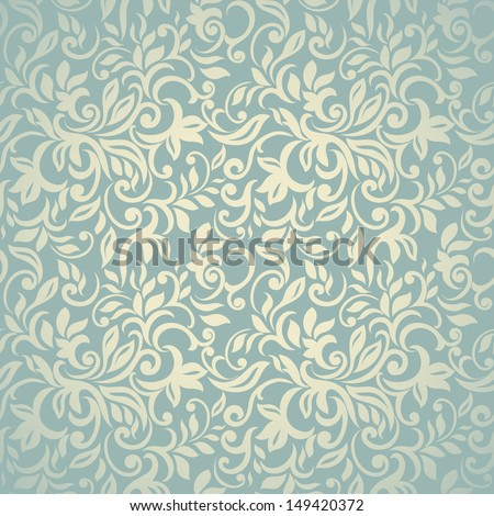 Elegant stylish pastel golden-blue abstract floral wallpaper. Seamless pattern  - stock vector